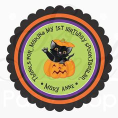 24 Halloween Stickers Personalized Cat by sosweetpartyshop