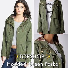 ⚡️FLASH SALE⚡️Topshop Green Parka Jacket This is a gorgeous jacket is BRAND NEW and  never been worn. The pockets and details on this jacket make it so lovely. Perfect jacket to go with any outfit. Get it while you can because this is a steal! All but the first photo is mine! Topshop Jackets & Coats Utility Jackets