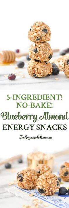 5-Ingredient No-Bake Blueberry Almond Energy Snacks! Snacks for Kids | Healthy Snacks | Snack Ideas | No Bake Energy Bites | Clean Eating Recipes | Meal Prep | Gluten Free #energysnacks #blueberry #healthysnacks #glutenfree #theseasonedmom