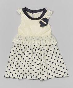 Look at this #zulilyfind! Beige & Navy Polka Dot Cap-Sleeve Dress - Infant, Toddler & Girls by Richie House #zulilyfinds