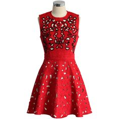 Chicwish Eternal Charm Beads Cutout Embossed Dress in Red ($68) ❤ liked on Polyvore featuring dresses, red, red party dresses, cocktail party dress, holiday party dresses, party dresses and floral cocktail dress