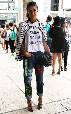Martha from New York Fashion Week Spring 2015 Street Style  Martha dresses up this basic graphic tee like a pro.