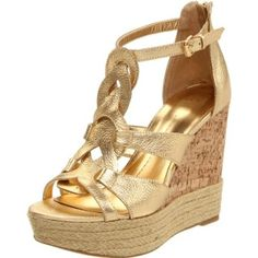 DV by Dolce Vita Women`s Bandana Wedge Sandal,Gold Leather,8 M US
