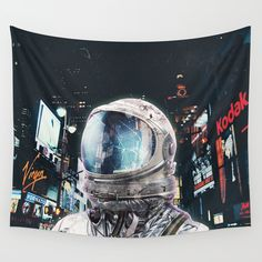surrealism, scifi, collage, illustration, digital, astronaut, city 'REPIN TO YOUR OWN INSPIRATION BOARD' All artworks are available with or without a frame, on Canvas boards, Wall Tapestry, Home decor such as Pillows, Duvet sets, Shower curtains etc, and fashion items like Bags, T-shirts, Leggings and Phonecases . Thanks for looking #homedecor #wallart