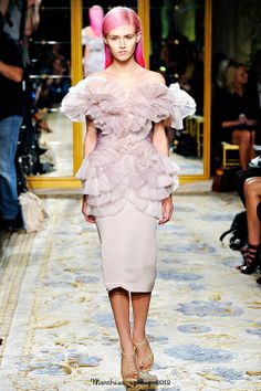 Marchesa Spring 2012 low neckline and ruffle embellishment