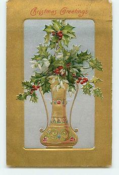 11997 Winsch Christmas Greeting Gold Gild Vase with Holly Ivy Mistletoe Early Em | eBay