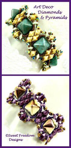 Art Deco Diamonds & Pyramids, a beadweaving tutorial by Sweet Freedom Designs. This pattern uses 12mm Pyramid Studs, DiamonDuos, MiniDuos, as well as seed beads and Swarovski crystals