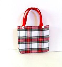 White Holiday Plaid Tote Bag on Etsy, $24.00