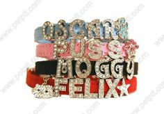 white diamond cat collar Item No.DFMXQ-004D  Rhinestone studded cat collars with custom names. Just pick your characters and your cat will have a custom collar!