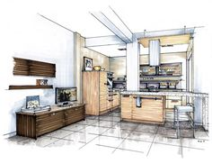 display color more drawing interior interior design Rendering Interior, Interior Design Renderings, Drawing Interior, Interior Sketch, Interior Architecture, Living Room Interior, Kitchen Interior, Design Kitchen, Bathroom Interior