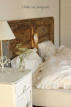 Shabby soul blog....Cottage Chic bedroom....Old Vintage door used as headboard