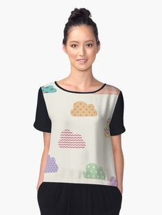 Digital Illustration Colorful fluffy clouds on neutral background. Nice, cool, creative, cute and female T-shirts. Women, girl, unisex, cool, modern, creative t-shirts. T-shirt, female. • Also buy this artwork on apparel, stickers, phone cases, and more.