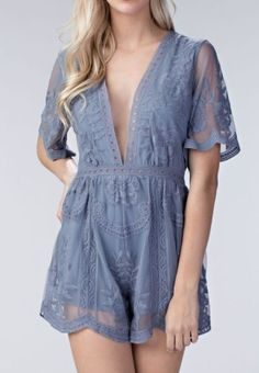 We are in love! Our Brigitte Lace Romper is so beautiful and unique. A gorgeous lace romper in dusty blue. With intricate lace detailing, deep v-neck line, and flattering half-sleeves, this romper is sure to turn heads! Pair it with your favorite sunnies and strappy sandals for festival season, or dress it up with heels and statement jewelry for a night out. Also available in White, Mustard Yellow, and Pink Rose. This romper is based on our bestselling Bardot Lace Maxi Dress, available in…