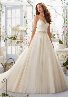 Wedding Gown 5416 Alencon Lace Bodice with Satin Shoulder Straps onto a Soft Net Ball Gown