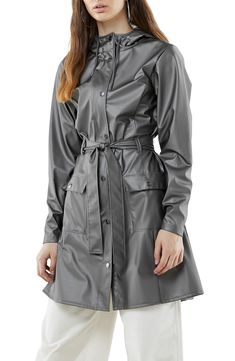 online shopping for RAINS Curve Waterproof Hooded Raincoat from top store. See new offer for RAINS Curve Waterproof Hooded Raincoat Blue Raincoat, Hooded Raincoat, Knitted Coat, Ribbed Sweater, Rain Jacket Women, Woman Silhouette, Raincoats For Women, Rain Wear, Plastic