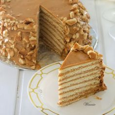 Special honey cake layered with dulce de leche