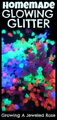 How to make glitter that glows in the dark!  SO fun for arts, crafts, and sensory play!
