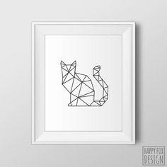 Geometric Cat Art, Origami Cat print, Digital, Modern decor, Black and white, Geometric wall art, Printable Art, Cat wall art