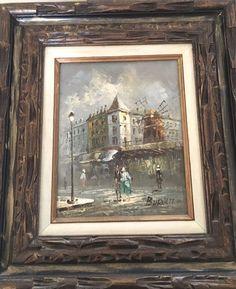 Vintage Original Oil Painting of Paris Street Scene by Caroline Burnett, Framed