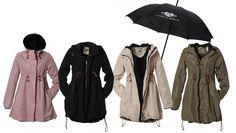 Camilla Mørch Raincoat, model Gothenburg. Vintage pink, soft black, breeze beige and military green.