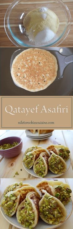 If you ask any Middle Eastern Muslim what food comes to his/her mind when he/she hear the word Ramasan, the answer is one of two Qatayef or Knefeh. Qatayef is sold everywhere in Egypt during Ramadan, (Breakfast Baking Sweet) Middle East Food, Middle Eastern Desserts, Middle Eastern Dishes, Ramadan Sweets, Ramadan Recipes, Crepes, Lebanese Recipes, Indian Food Recipes, Ethnic Recipes