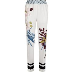 Etro Floral Silk Trousers (11.594.450 IDR) ❤ liked on Polyvore featuring pants, relaxed pants, tailored pants, flower print pants, floral print pants and white trousers