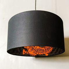 Handmade Lemur Gheko Tropical Flower Silver Grey Drum Lampshade Ceiling Lightshade Choice of Colours