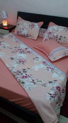 Double Bed Sheets, Bed Sheet Sets, Bed Cover Sets, Bed Covers, Homemade Bed Sheets, Draps Design, Diy Room Decor, Bedroom Decor, Creative Beds