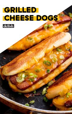 Grilled Cheese Dog (makes Sliced hot dogs grilled, with green onion, plus melted shredded Cheddar cheese or your additions. Make them fancier with Gruyère and caramelized onions or provolone cheese and peppers. Grilled Cheese Hot Dog, Making Grilled Cheese, Cheese Dog, Grilled Cheese Recipes, Grilled Cheeses, Provolone Cheese, Cheddar Cheese, Dog Recipes, Grilling Recipes