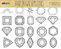 Hand Drawn Gemstones Diamonds in Black outlines   by pickApixel