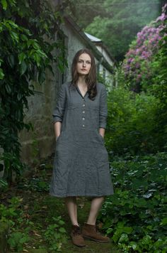 Work Dress. Grey Linen by KnockKnockLinen on Etsy