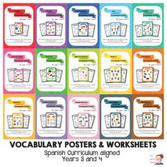 """15 sets of colour posters and worksheets that you can also buy separately in my store.   These posters depict the """"Key target vocabulary"""" for years 3 and 4 in the Primary Education Stage in Spain (RD126/2014)."""