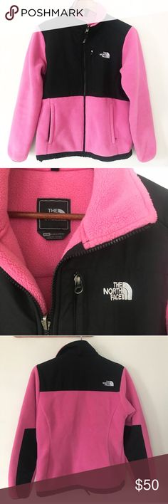 """North Face Denali Pink Black Fleece Jacket The North Face black and pink Denali fleece full zip jacket. Excellent used condition. Great layering jacket! • 100% polyester  • Two handwarming pockets and one chest pocket  • Approx. measurements when laid flat: 21"""" bust, 26"""" length The North Face Jackets & Coats"""