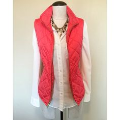 Quilted Puffy (Coral/Pink) Vest sz S NWOT Quilted Puffy (Coral/Pink) Vest sz S NWOT by Old Navy  It is brand new, without tags. It has gold zipper, hardware. The necklace and shirt are NOT included, sold separately.                                     NO TRADES NO PAYPAL Old Navy Jackets & Coats Vests