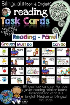 This bilingual Math Task Card set with illustrations add interest, colour and life to your Junior Bilingual Math Taskboard with the advantage of providing your youngest of learners with the visual cues needed to really get your classroom math rotations running smoothly. This is a fantastic investment for your classroom organisation & management. #MaoriTeachingResourcesJuniorClassroom Classroom Labels, Classroom Organisation, Classroom Posters, Math Classroom, Classroom Ideas, Reading Task Cards, Math Rotations, English Teaching Resources, Organization And Management