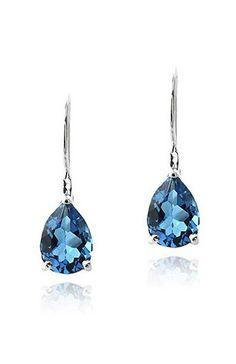 London Blue Topaz & Sterling Silver Teardrop Earrings