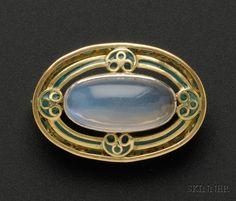 Art Nouveau Plique-a-jour Enamel and Moonstone Brooch, Tiffany & Co.