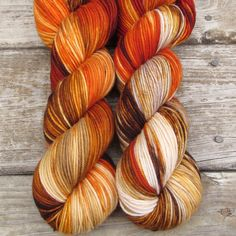This orange, brown, and cream colorway is reminiscent of forest-growing reishi mushrooms. While we call this a 'Repeatable Babette', every skein and every batch is a bit different. Kaweah We love the