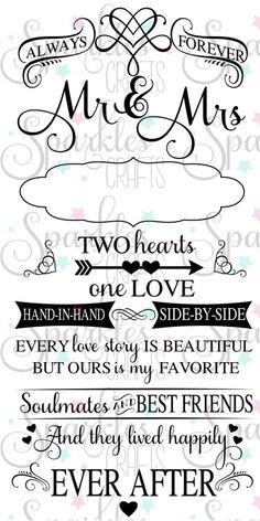 Wedding Quotes : Always Forever Mr & Mrs SVG Quote Perfect Wedding quote or Just Married quote! C Wedding Quotes : Always Forever Mr & Mrs SVG Quote Perfect Wedding quote or Just Married quote! Mr Mrs, Just Married Quotes, Two Hearts One Love, Cricut Wedding, Wedding Scrapbook, Silhouette Cameo Projects, Silhouette Cameo Wedding, Wedding Quotes, Cricut Vinyl