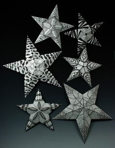 STAR TEMPLATE --YOU DO THE ZENTANGLE OR DOODLE  Zentangle Christmas Stars
