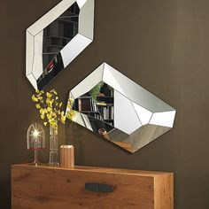 Diamonds are a girl's best friend, but this mirror is even better. Order the Diamond wall mirror for a touch of contemporary mirror wall art in your home. Tinted Mirror, Spiegel Design, Diamond Wall, Contemporary Wall Mirrors, Entry Way Design, Minimalist Home Interior, Unique Wall Decor, Decor Interior Design, Furniture Design