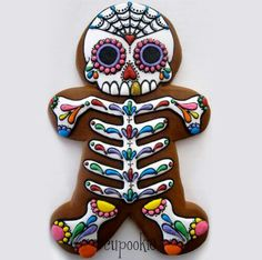 Day of the dead gingerbread cookie for Halloween (no recipe or instructions - pinned it for the idea)