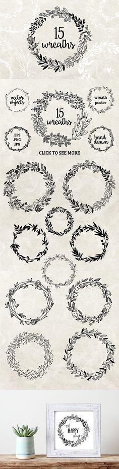 Hand drawn floral wreaths. Wedding Card Templates