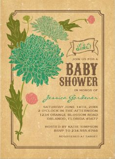 vintage rustic green flower custom baby shower invitations available in different colors