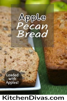 Apple Pecan Bread is super moist and so full of flavor. Use your favorite apples and pecans or walnuts and you will not be disappointed! #easyapplebread #easypecanbread Apple Recipes, Bread Recipes, Baking Recipes, Cake Recipes, Best Dinner Recipes, Brunch Recipes, Breakfast Recipes, Bake Sale Recipes, Bread Kitchen