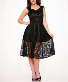 Loving this Black Lace Sweetheart Dress - Plus Too on #zulily! #zulilyfinds
