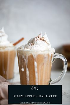 This Easy Warm Apple Chai Latte is made with only a handful of ingredients and is the perfect warmth + coziness during the cooler season. Believe it or not, apple + chai flavors go together so well and will surely become your newest obsession! Literally whipped together in a few short minutes, this homemade latte comes fully dairy-free, vegan, + gluten-free. Enjoy this coffee-free cup of goodness every morning. #easylatte #vegan #applchai #chaitea #applecider #fallrecipe #autmun #coffee