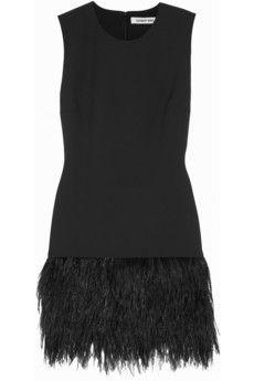 Elizabeth and James India feather-trimmed stretch-ponte mini dress   NET-A-PORTER