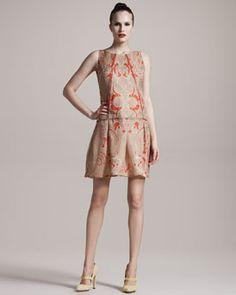 Wes Gordon- Floral-Print Organza Dress