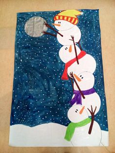 Winter Crafts For Kids Christmas Art Projects, Winter Art Projects, Winter Crafts For Kids, School Art Projects, Holiday Crafts, Art For Kids, Kindergarten Art, Preschool, Snowman Crafts